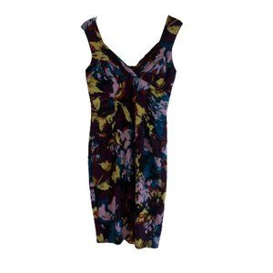 Adrianna Papell Floral Fitted Stretch Dress Purple